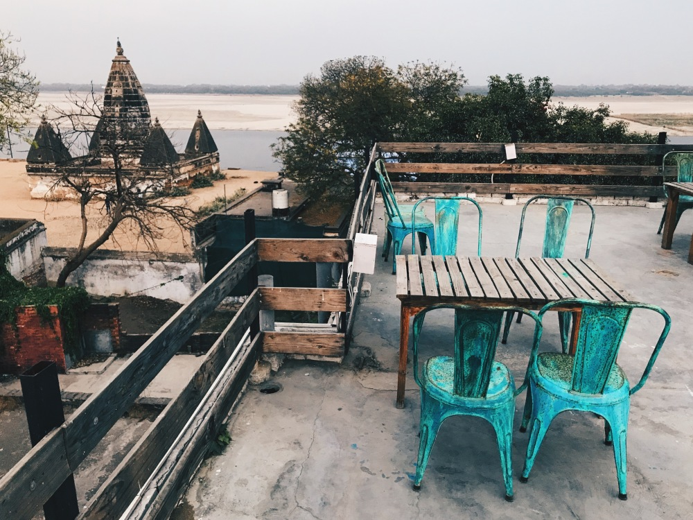 You can see the Ganges River from the roof.