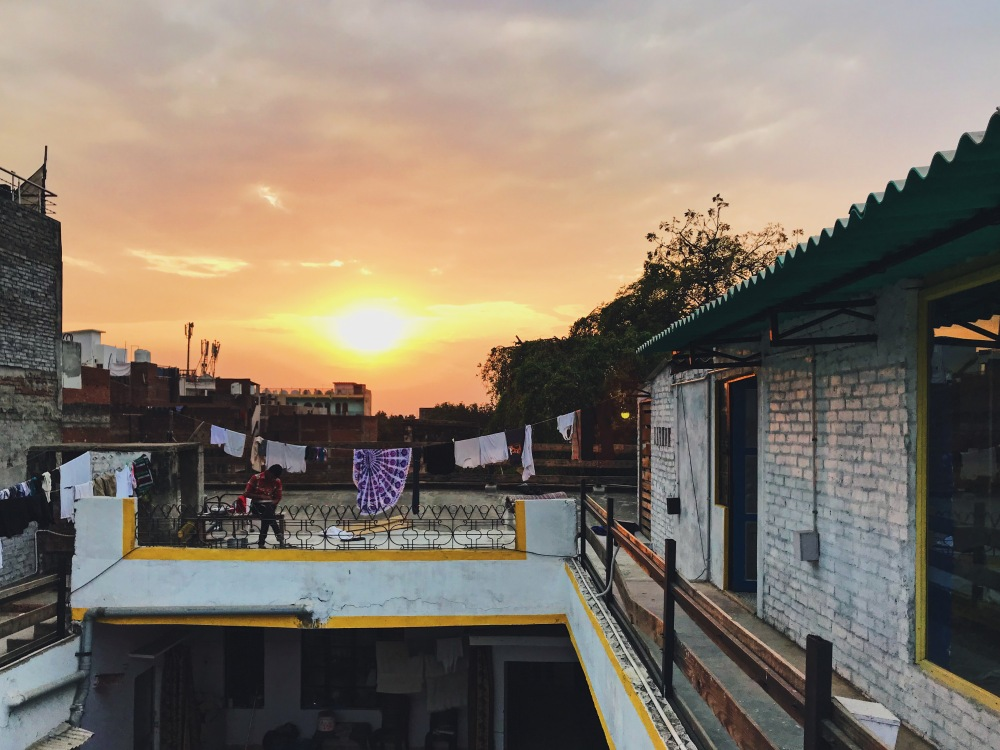 Our first sunset in Varanasi.
